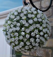 Best Artificial 28cm White Rose Topiary Hanging Flower Ball Grass Plant New