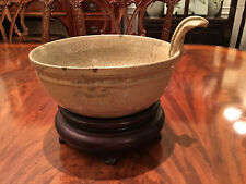 A Rare and Important Antique Chinese Yue Yao Ware with Rosewood Stand.