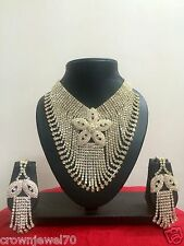 Bollywood Bridal Gold White Jewelry Necklace Set with Earrings