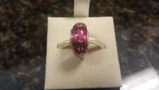 Authentic Chamilia City Lights Collection Fuchsia Steel Murano Glass Charm