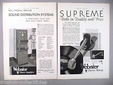 Webster Power Amplifier & Electric Turntable Pick-Up 2-Page PRINT AD - 1930