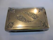 ANTIQUE HAND CHASED DUTCH STERLING SILVER MATCH BOX HOLDER  COVER  NO MONOGRAM