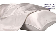 100%SILK-PILLOW CASEs 2*SILVERxHi-THICKLush-Premium*Silk*Well Made*Duo-PipeHemBR