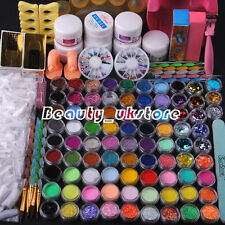 Full 84 Acrylic Powder Glitter Nail Art Kit UV Gel Manicure DIY Tips Brush