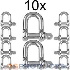 10x 6mm Stainless Steel D Shackle Dee A4-AISI 316 1500kgs MBL FREE P+P