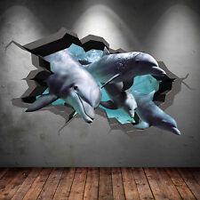 FULL COLOUR 3D AQUARIUM DOLPHIN UNDER WATER CRACKED 3D WALL ART STICKER DECAL 8