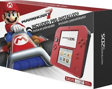 New! Nintendo 2DS Crimson Red with Mario Kart 7 Bundle Console; Ships Worldwide
