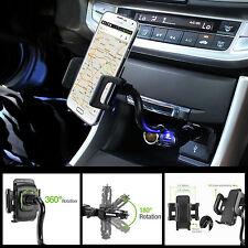 Cigarette Plug Car Mount Cell Phone Holder Mount for LG Optimus G4 with USB Port