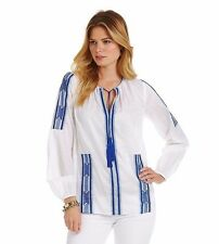 Michael Kors Embroidered Peasant L/S Tunic Top L $120 NWT Blue/White