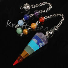 Natural Stone Beads Hexagon Pendulum Diviner Reiki Healing Point Chakra Pendant