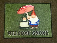 Welcome Gnome Door Mat Rug Gnome Couple with Mushroom #336