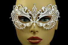 White LASER CUT Venetian Masquerade Costume Fancy Dress Crystals wedding Mask