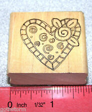 Stampin Up Just for Fun Stamp Single Heart with Flower Buds Valentine's Day
