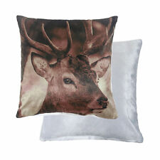 "FILLED SCOURIE STAG DEER SCOTTISH HIGHLAND BROWN VELVET 17"" CUSHION"