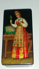 Beautiful Vintage Fedoskino Russian Lacquer box Gold foil Woman