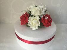 Rose flowers cake topper wedding hearts crystals with diamante bouquets