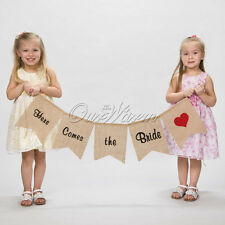 """Here Comes the Bride"" Burlap Banner Flower Children Wedding Ceremony Decoration"