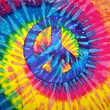 TIE DYE PEACE SIGN TEE SHIRT SZ LARGE mens womens hippie tye die swirl shirts