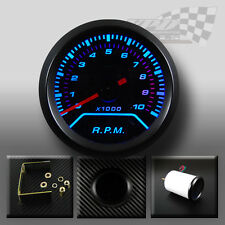 REV COUNTER TACHO RPM GAUGE BLUE LED SMOKED DIAL FACE WITH BLACK RIM 52mm 2""