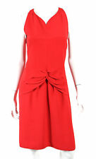 VALENTINO Gooseberry Red Silk Crepe Ruched Bow Cocktail Dress 10
