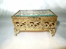 Ormolu Footed Brass and Bevelled Glass Lid Trinket Box
