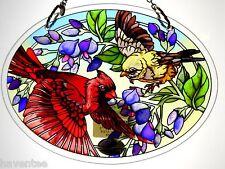 """AMIA STAINED GLASS SUNCATCHER 5.5"""" X 7"""" OVAL UNFURLING GLORY BIRDS  #41583"""