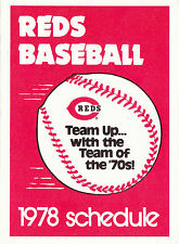 1978 CINCINNATI REDS BASEBALL POCKET SCHEDULE - MARATHON GASOLINE