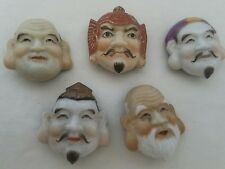 RARE VINTAGE ANTIQUE BUTTON LOT OF 6 ASIAN FACES GLASS BUTTONS PORCELAIN UNIQUE