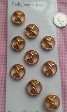 9 Gold Coloured Metal Twist Shank Vintage Buttons Approx 25mm
