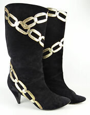 Vintage ZALO Black Suede Leather GOLD CHAINS Tall Fashion Boots Heels 9 M ~ RARE