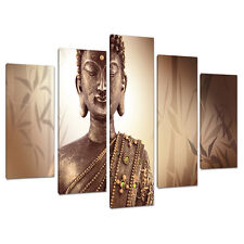Set of 5 Part Brown Buddha Canvas Wall Art Pictures Bedroom Print 5101