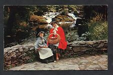 View of a Lady & Child in Welsh National Costume. Stamp/Postmark - 1980.