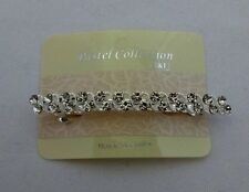 Silver rhinestone french barrette base metal hair clip 3.25 inches long