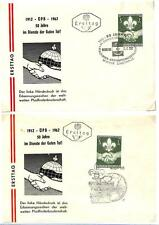 AUSTRIA BOY SCOUTS SCOUT #684 STAMP ON TWO FDC FIRST DAY COVER 1962