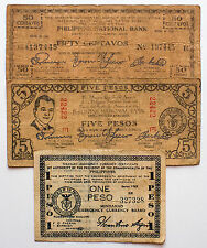 3 diff. Philippines WW2 1940's guerrilla paper money circulated