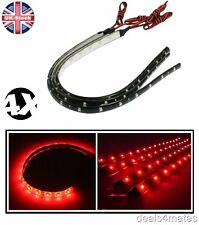 4 X WATERPROOF 30 CM 3528 SMD RED 15 LED FLEXIBLE DRL STRIP LIGHT HOME CAR AUTO