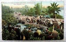 1909 POSTCARD FEEDING THE SEALS WEST LAKE PARK LOS ANGELES CALIFORNIA #3