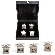 Realtor For Sale Sold 2 Pairs Cufflinks Real Estate Agent Wedding Fancy Gift Box