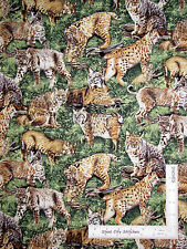 Bobcat Wild Cats In Grass Cotton Fabric Fabriquilt Inc American Wildlife - Yard