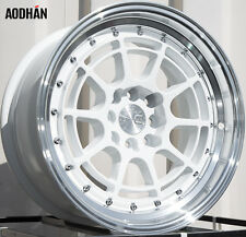 16X8 +15 Aodhan Ah04 4X100 WHITE WHEEL FIT MINI COOPER S JCW INTEGRA MIATA MX3