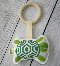 Maple Wood Ring & Organic Cotton TURTLE Baby Teething Toy Rattle Eco Friendly