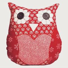 SHABBY CHIC CHRISTMAS DECOR RED SNOWFLAKE OWL CUSHION SASS & BELLE GREAT GIFT