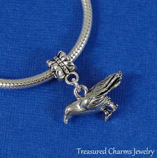 Silver CROW Dangle Bead CHARM 3D Raven Bird fits EUROPEAN Bracelet *NEW*