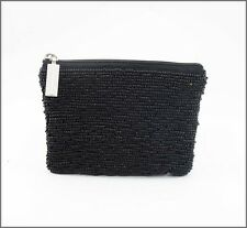 Seed Bead Black Purse, 12cm x 10cm ..... beaded bag . clutch