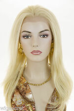Long HumanBlend Lace Front Heat-resistant Blonde Brunette Red Straight Wigs