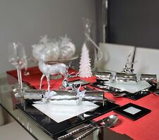 New Set Of Six Black Glass Placemats With Swarovski Crystals Dining Dinner Table