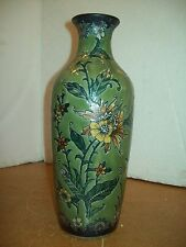 """VINTAGE 14"""" tall VASE green butterfly flowers vine antique look Pottery"""