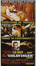 GOLDFINGER 3SHT ORIGINAL MOVIE POSTER 1964 JAMES BOND ON LINEN
