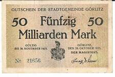 GERMANY NOTGELD Stadt GORLITZ 50 MILLIARDEN MARK 29.10.1923 GVG