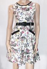 UTTAM BOUTIQUE Brand White Floral Belted Day Dress Size 10-S BNWT #SL31